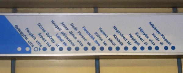 Budapest metro stations sign