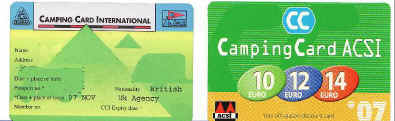 Camping Card International and ACSI discount card