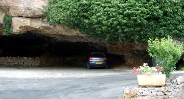 interesting parking place in a cave